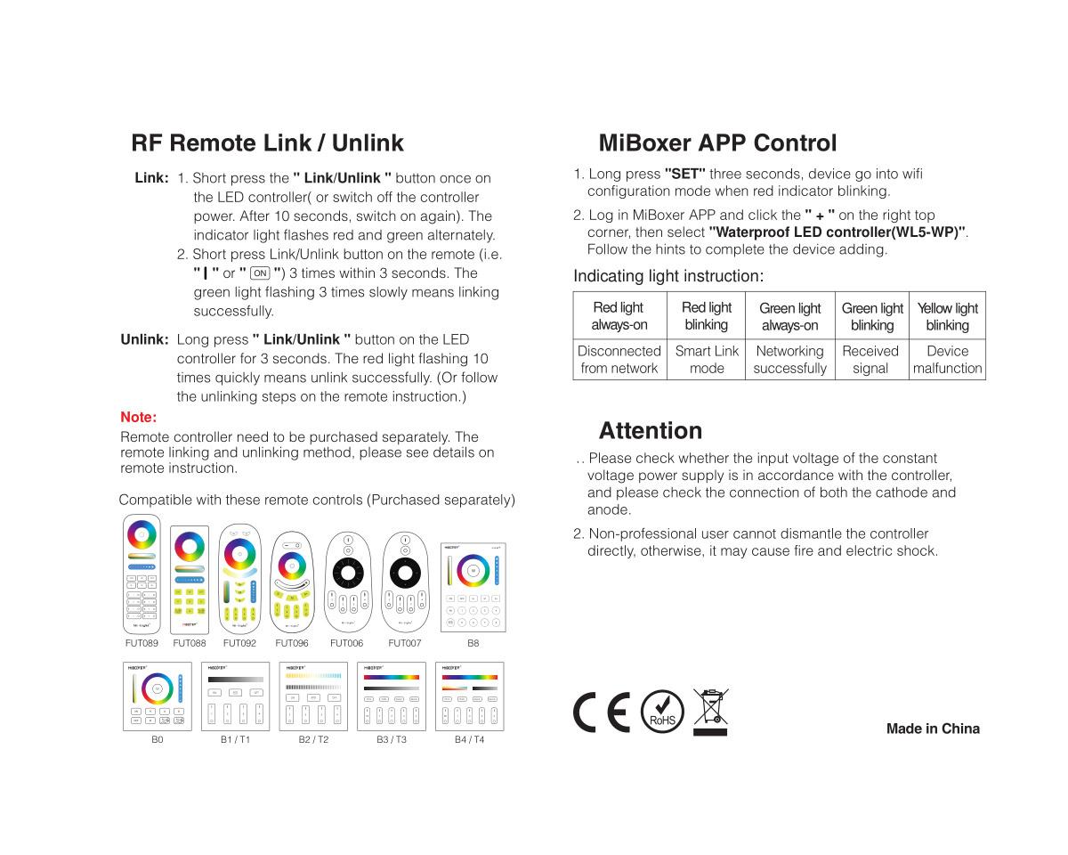 Mi·Light IP67 Waterdichte WiFi LEDstrip Controller | 12~24V 20A | Optioneel afstandsbediening |  WL5-WP