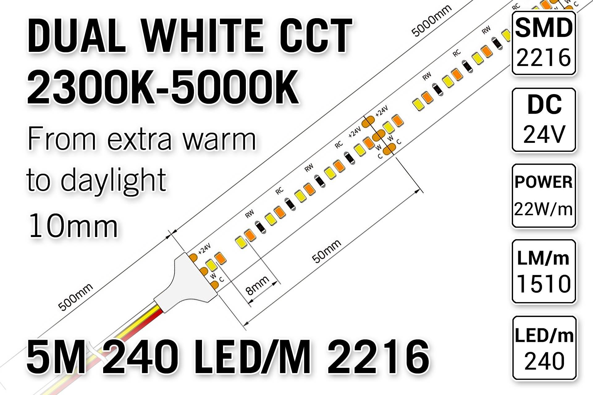 PRO LINE Dual Wit 2300K~5000K CCT Led Strip | 5m 240 Leds pm Type 2216 24V - Losse Strip
