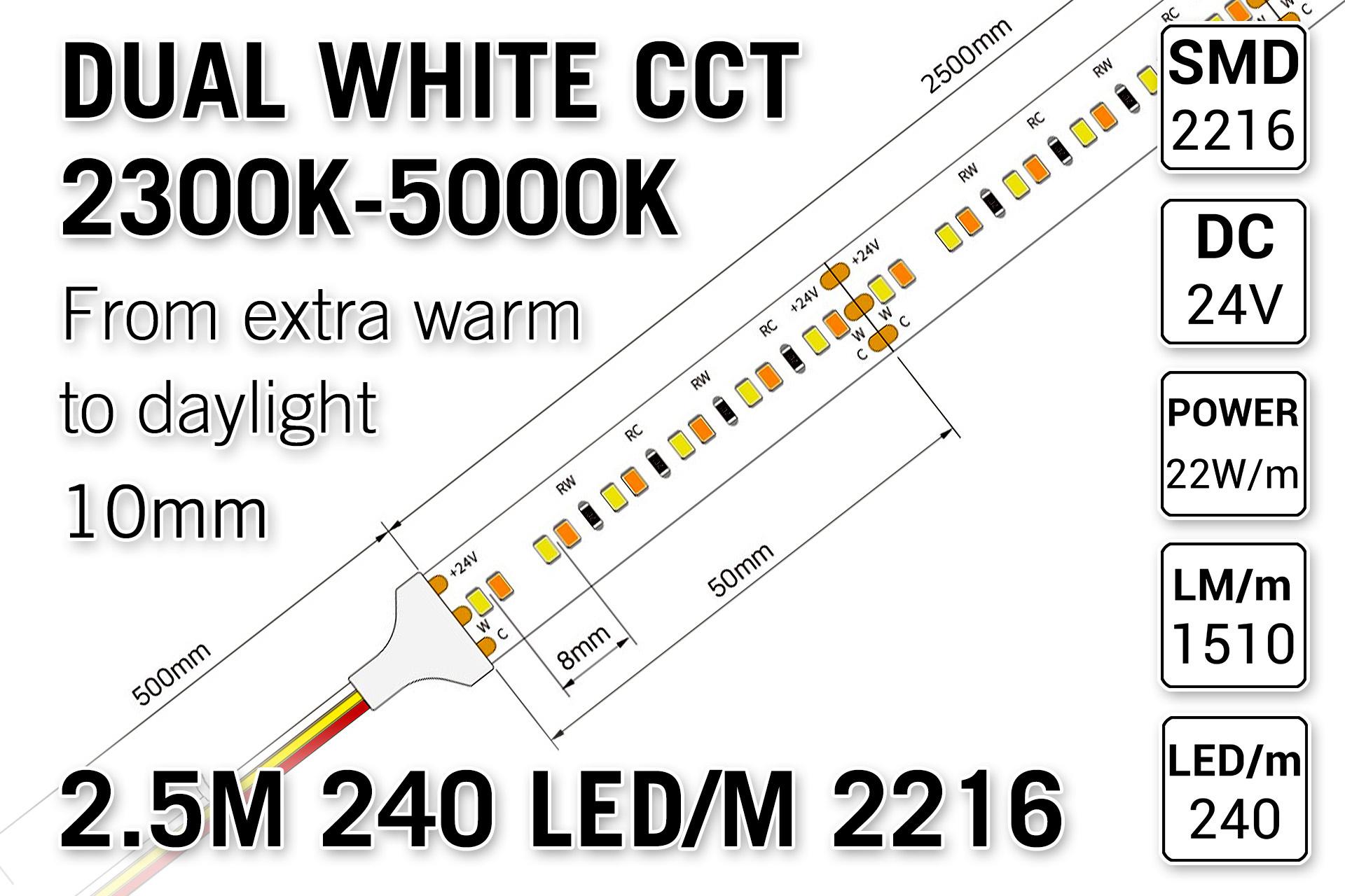 PRO LINE Dual Wit 2300K~5000K CCT Led Strip | 2,5m 240 Leds pm Type 2216 24V - Losse Strip