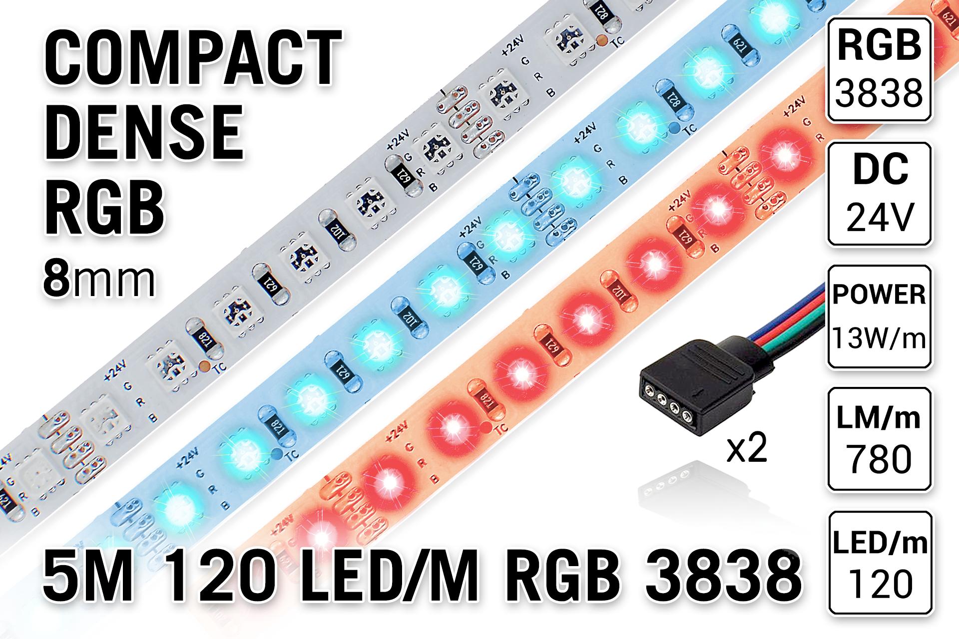 PRO LINE Compact RGB Kleur Led Strip | 5m 120 Leds pm Type 3838 24V - Losse Strip