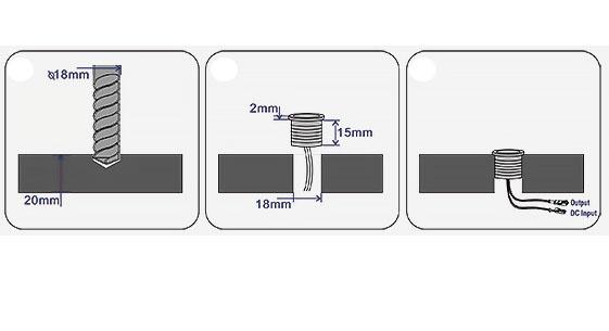 Ronde Inbouw Touch dimmer 18mm ⌀ Chrome met blauwe functie LED | 12V-24V 4A