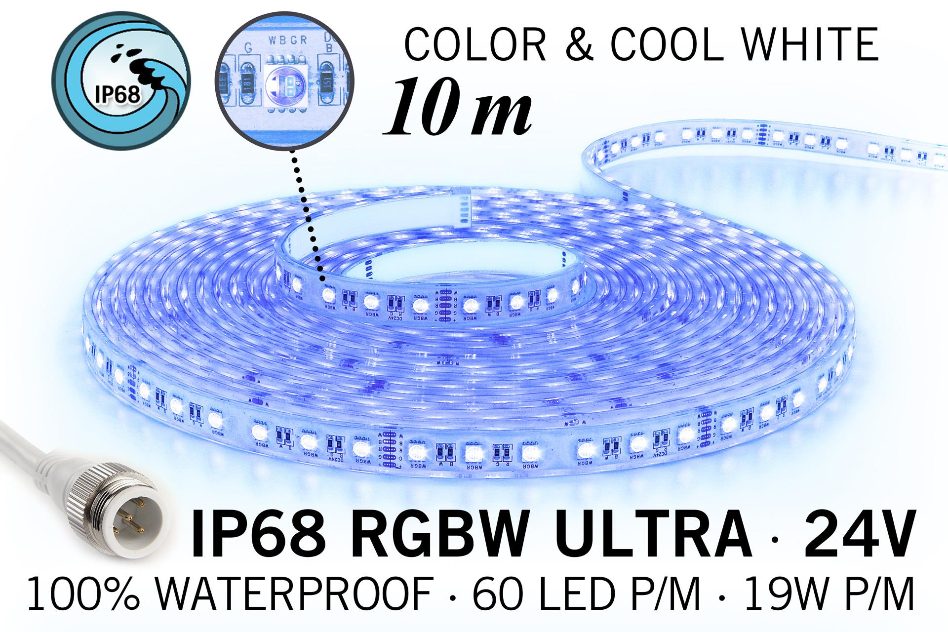 IP68 Waterdichte RGBW ULTRA Ledstrip, RGB+Koel wit, 60 led's p/m, 24 Volt, 10 meter