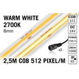 Pro Line COB 2700K Warm Wit Led Strip | 2.5m 10W pm  24V | 512 pixels pm - Losse Strip