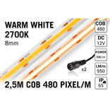 Pro Line COB 2700K Warm Wit Led Strip | 2.5m 10W pm  12V | 480 pixels pm - Losse Strip