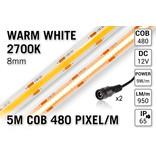 Pro Line COB 2700K Warm Wit Led Strip | 5m 10W pm  12V | 480 pixels pm - Losse Strip
