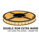 Extra Warm Wit Losse Led Strip   Dubbele rij 120 Leds pm Type 5050 12V 28,8W pm
