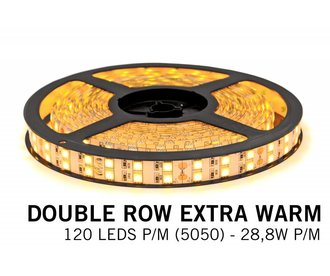 Extra Warm Wit Led Strip | Dubbele rij 120 Leds pm Type 5050 28,8W pm