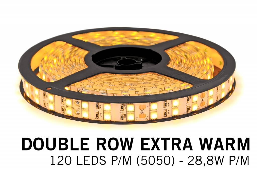 Extra Warm Witte Ledstrip 2400K, dubbele rij 5050, 28.8W P/M 12V