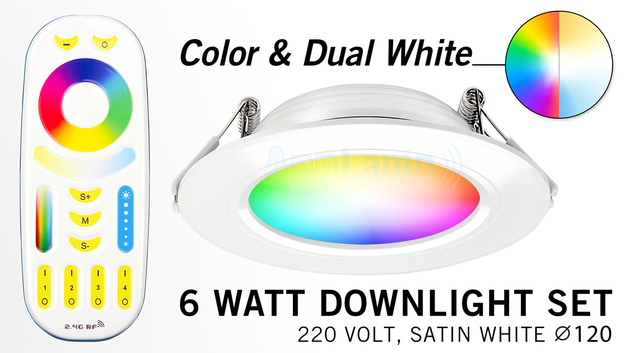 Mi·Light LED Inbouwspot met Afstandsbediening Mi-Light 6W RGBWW Kleur + Dual White 220V. Satijn Wit. Rond ⌀120mm