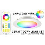 Mi·Light LED Inbouwspot met Afstandsbediening Mi-Light 12W RGBWW Kleur + Dual White 220V. Satijn Wit. Rond ⌀180mm