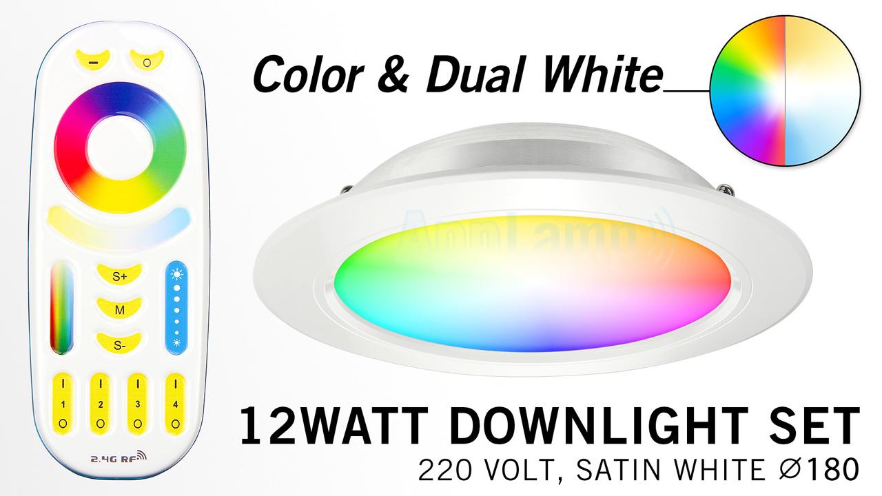 Mi·Light Mi-Light 12W RGBWW Kleur + Dual White LED Inbouwspot + Afstandsbediening