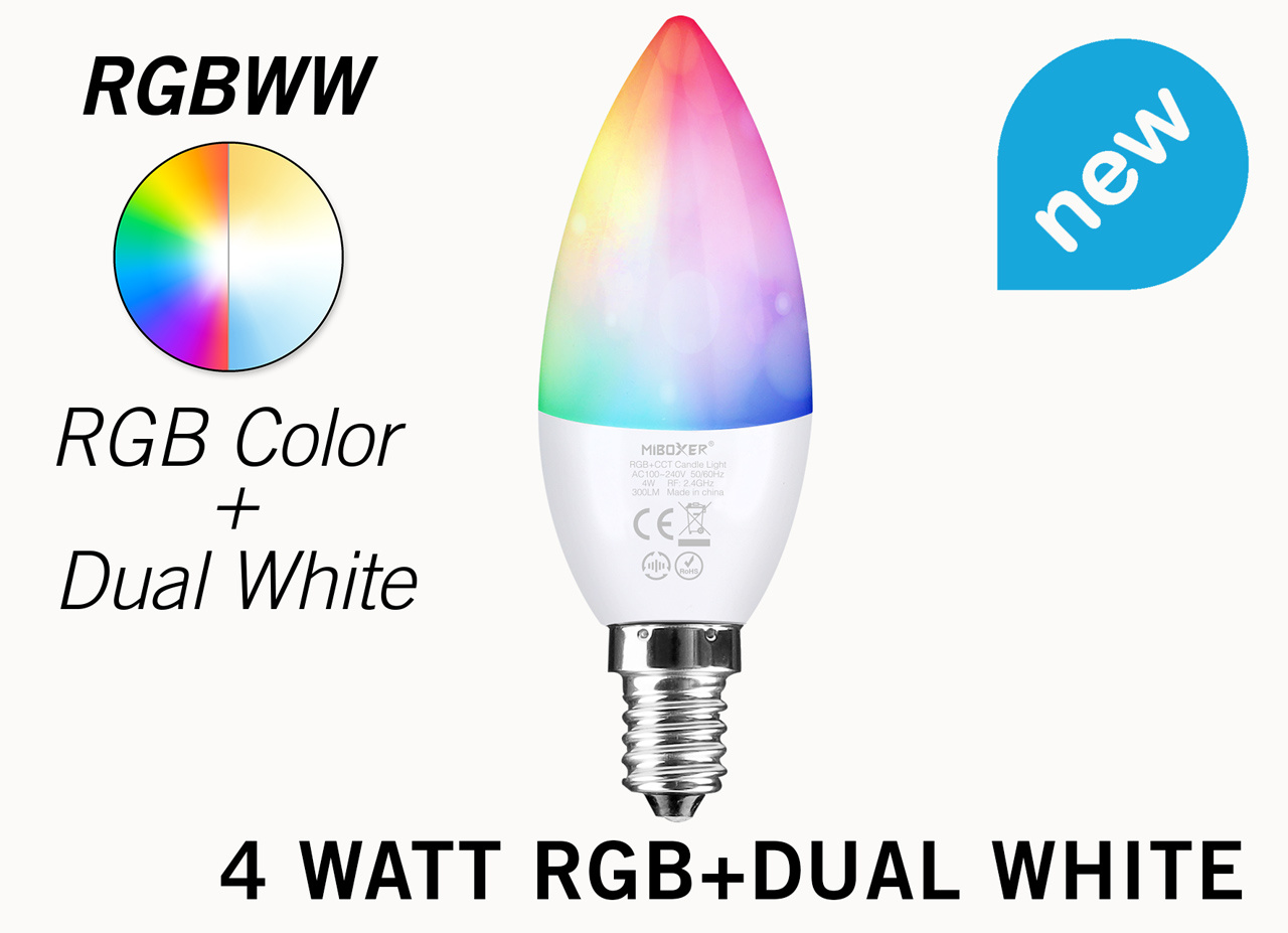 Mi·Light Wifi LED Lamp Miboxer / Mi-Light 4W RGB+Dual White E14 Kaarslamp. Op afstand bedienbaar