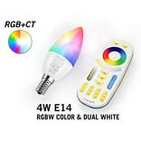 Mi·Light Set met 4W RGBWW Kleur + Dual White Mi-Light kleine fitting E14 LED kaarslampen met Afstandsbediening   - Copy