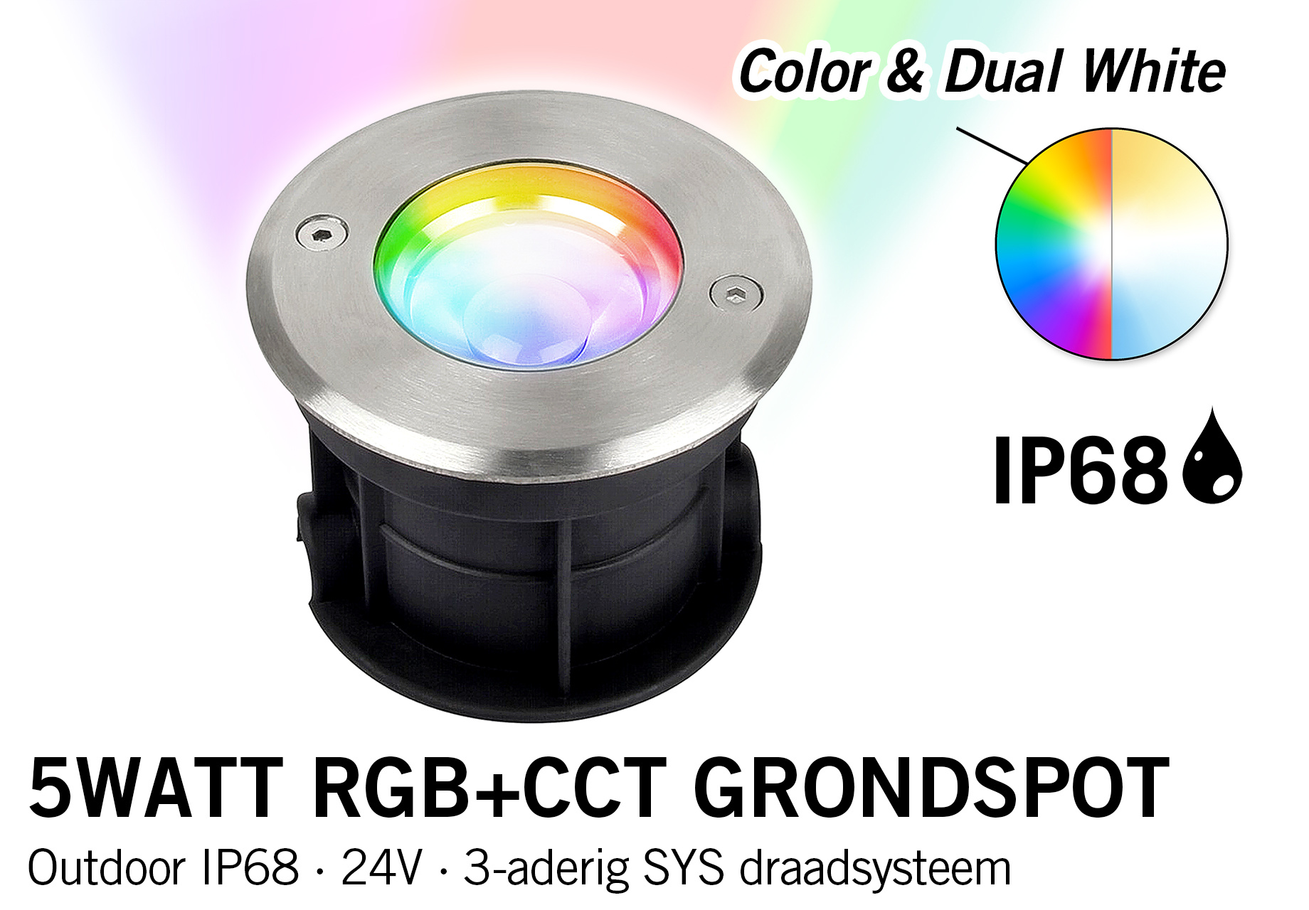 Mi·Light 5W RGB+CCT 24V LED Grondspot  IP68 | SYS-RD1
