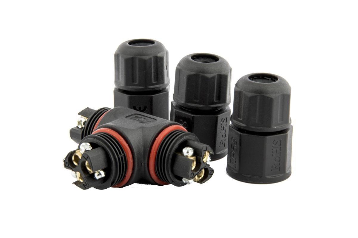 Waterdichte T-connector 3-aderig met schroefdraad - soldeervrij IP68