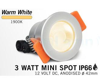 Mi·Light Miboxer 3W Extra Warm Wit  Mini LED spotje. Waterdicht IP66, 12Volt, Ø 42mm