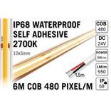 6m IP68 Waterdichte COB 2700K Warm Wit Led Strip | 9W pm  24V | 480 pixels pm - Zelfklevend