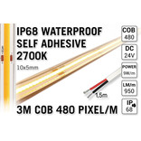 3m IP68 Waterdichte COB 2700K Warm Wit Led Strip   9W pm  24V   480 pixels pm - Zelfklevend