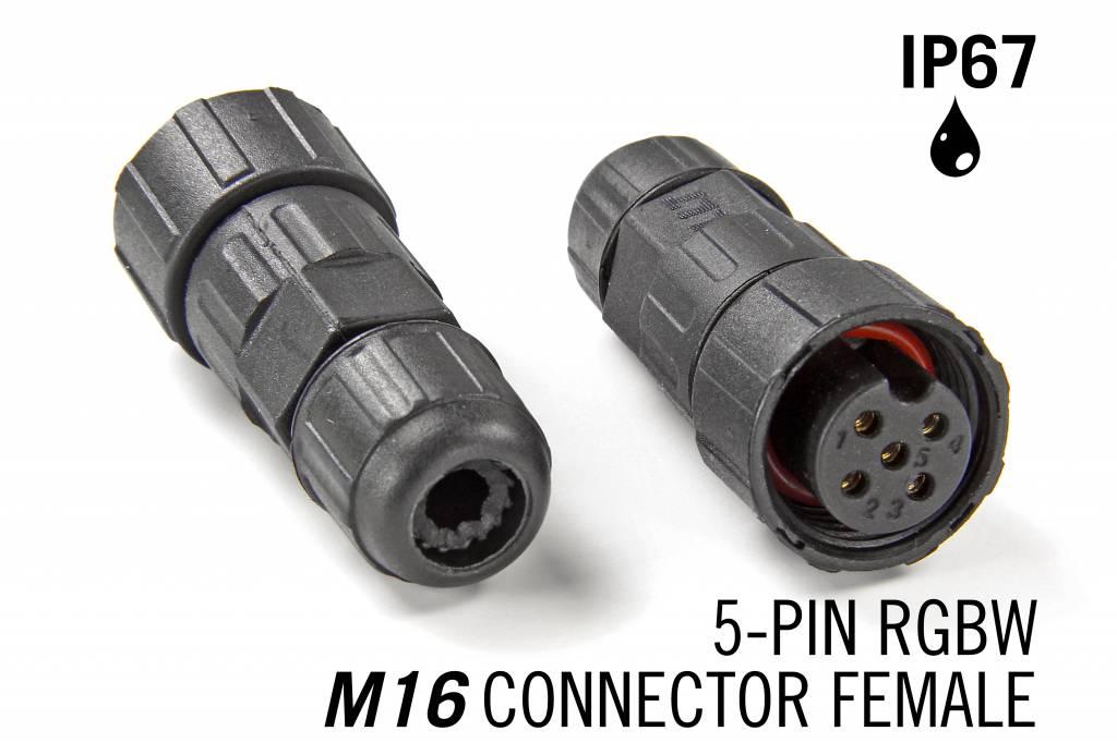M16 5 Pin Female Connector IP67 Waterdichte RGBW