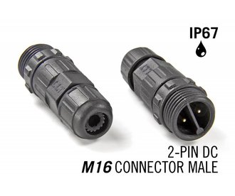 M16 2 Pin IP67 Waterdichte Male Connector DC