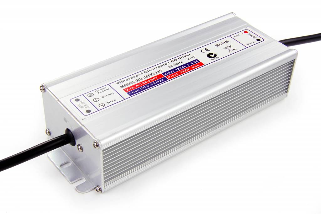 24V DC Geschakelde Voeding. 100W 4A. Waterdicht (IP67)