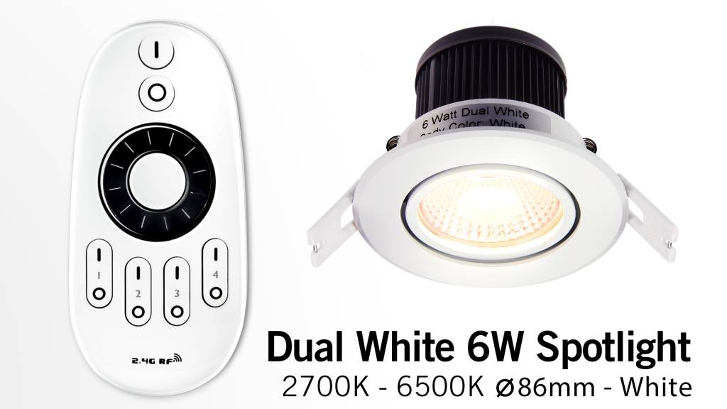 Mi·Light LED Inbouwspot met Afstandsbediening Mi-Light 6W Dual White 220V. 30° Kantelbaar. Satijn Wit. Rond ⌀86mm