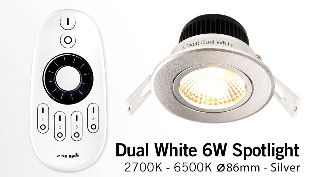 Mi·Light LED Inbouwspot met Afstandsbediening Mi-Light 6W Dual White 220V. 30° Kantelbaar. Zilver Chroom. Rond ⌀86mm