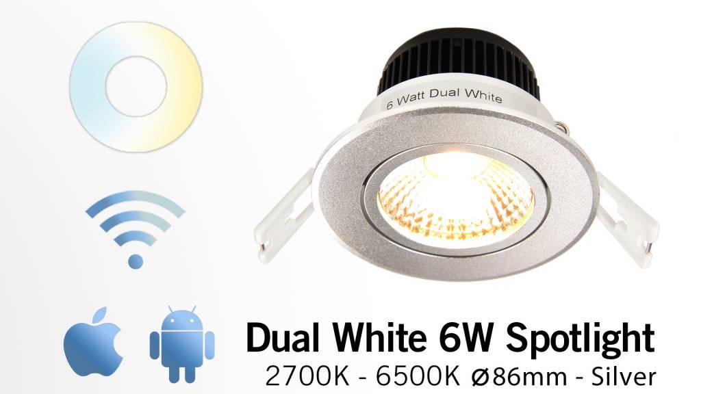 Mi·Light 6W Dual White LED Inbouwspot 220V. Kantelbaar Zilver Chroom