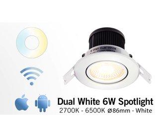 Mi·Light Mi-Light 6W Dimbaar Dual White LED Inbouwspot 220V. Satijn Wit