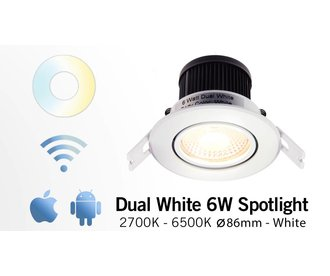 Mi·Light Mi-Light 6W Dual White LED Inbouwspot 220V. 30° Kantelbaar. Satijn Wit