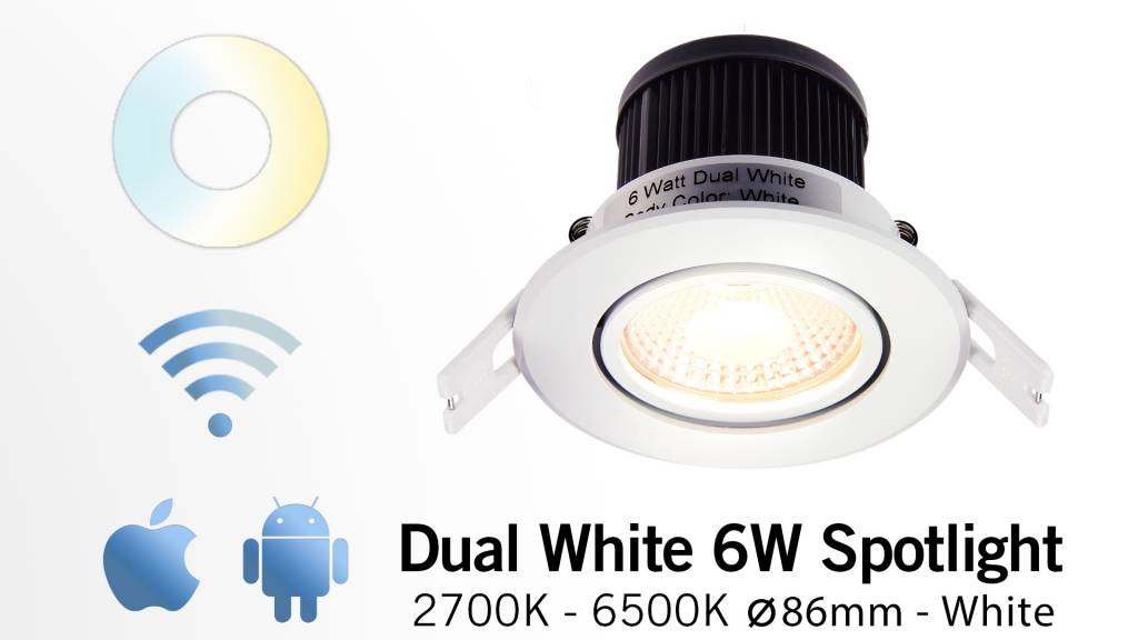 Mi·Light LED Inbouwspot Mi-Light 6W Dual White 220V. 30° Kantelbaar. Satijn Wit ⌀86mm