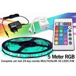 RGB Led Strip set met afstandsbediening | 5m 12V