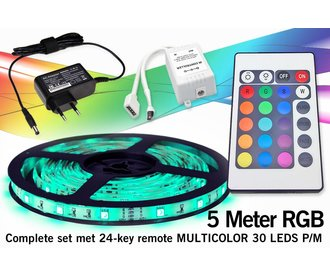 RGB Led Strip | 5m 12V 7,2W pm met afstandsbediening