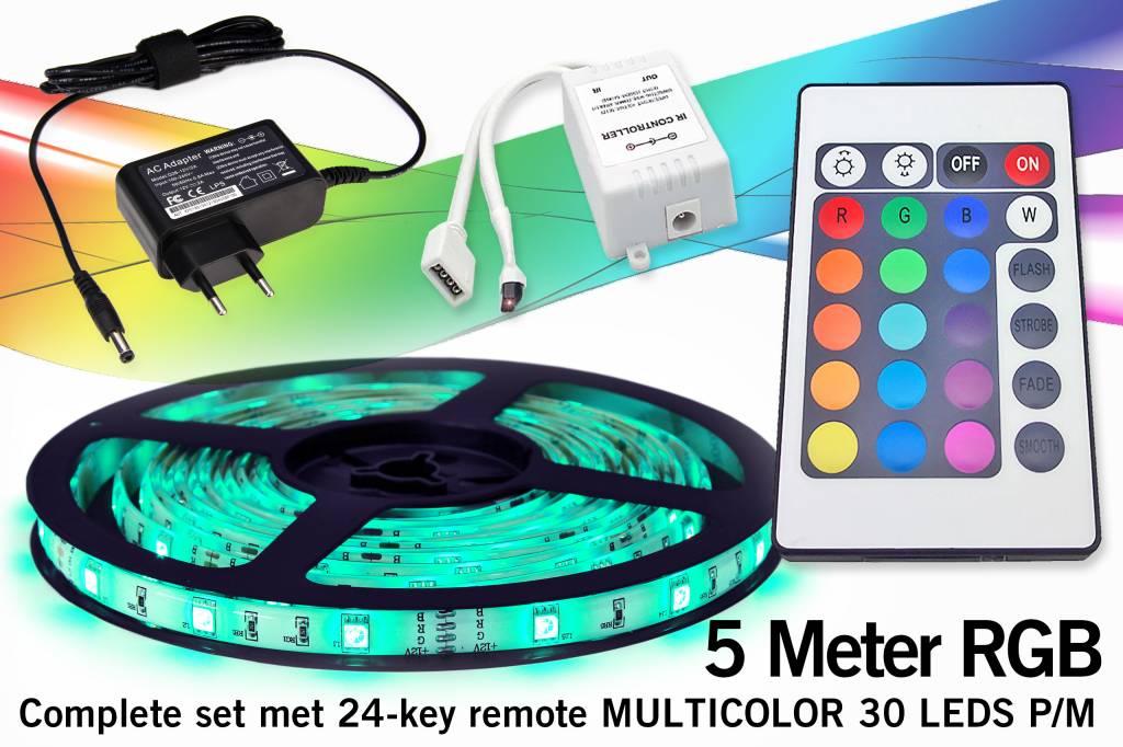 RGB Led Strip met afstandsbediening | 5m 12V 7,2W pm