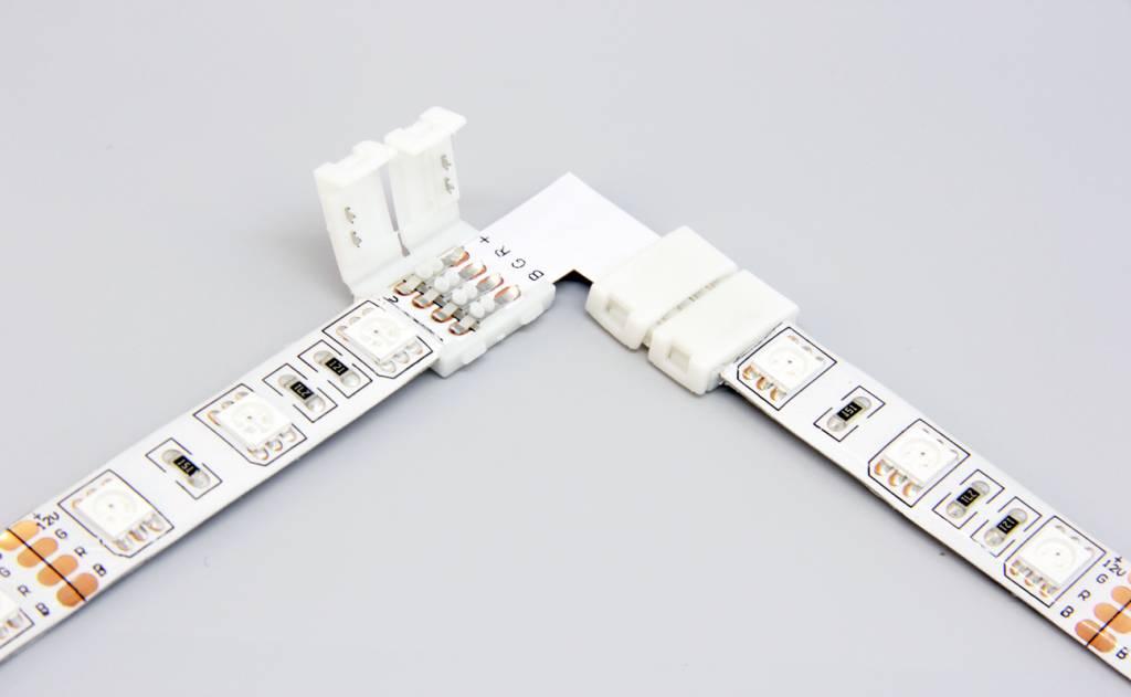 90° L-Connector voor 4 Pin RGB Led Strips 10mm | Soldeervrij