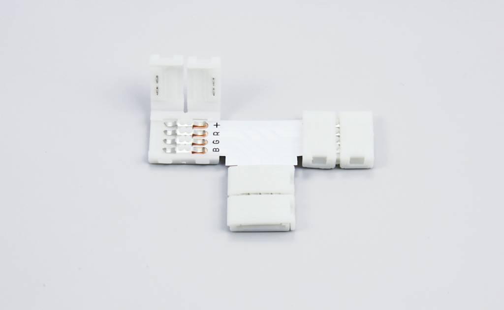 T-Connector voor 10mm RGB Led Strips | Soldeervrij