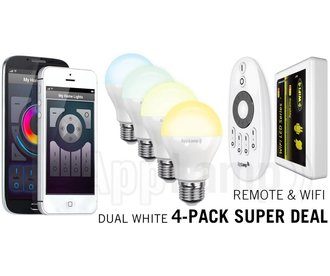 Mi-light 6W Dual White E27 Set van 4 Wifi LED Lampen Starterskit