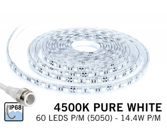 Waterdichte LED strip Puur wit (IP68) met 300 leds 12V, 5 meter