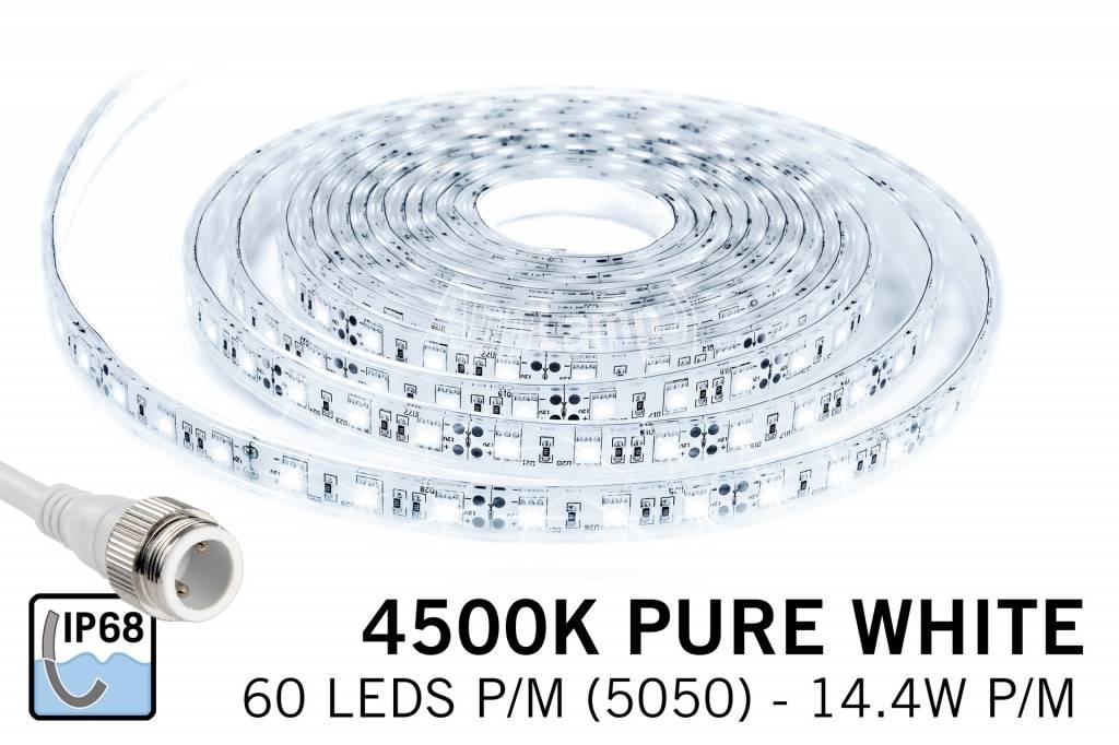 Neutraal Wit IP68 Waterdicht Led Strip | 60 Leds pm 5m Type 5050 12V 14,4W pm