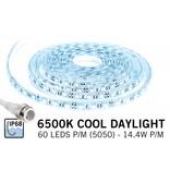 Koel Wit IP68 Waterdicht Led Strip | 60 Leds pm Type 5050 12V 14,4W pm