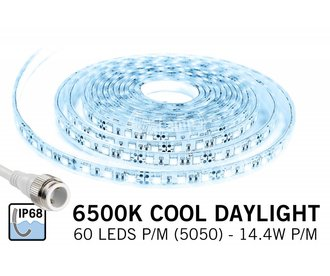 Custom Koel Wit IP68 Waterdicht Led Strip 75cm | 60 Leds pm Type 5050 12V Losse Strip