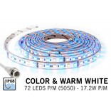 RGB & Warm Wit IP68 Waterdicht Led Strip | 72 Leds pm Type 5050 12V 17,2W pm