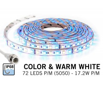 Waterdichte RGBW LED strip (IP68) met 360 leds 12V,  5m of 1.5m