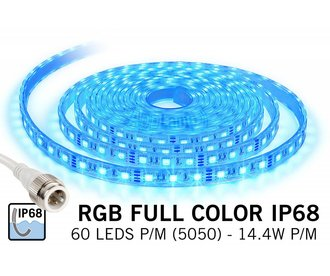 Waterdichte RGB LED strip IP68 met 300 RGB LED's 12V, 72W, 5M