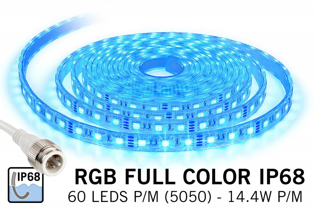 RGB IP68 Waterdicht Led Strip | 60 Leds pm 5m Type 5050 12V 14,4W pm