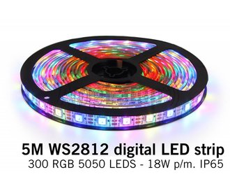 Dream Color WS-2812 RGB Digital LED strip 5 meter, 60 leds p.m. type 5050 5V IP65