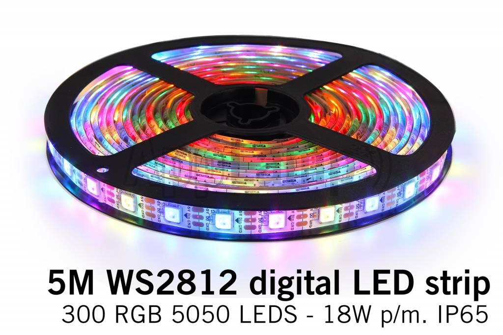 RGB Dreamcolor Led Strip | WS2812 5V | 60 Leds pm 5m Type 5050 18W pm IP65