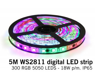 RGB Dreamcolor Led Strip | WS2811 5m 60 Leds pm Type 5050 18W pm IP65