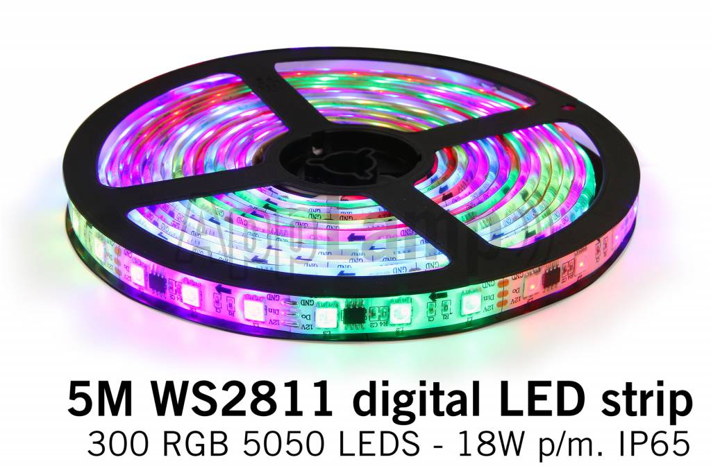 RGB Dreamcolor Losse Led Strip | WS2811 5m 60 Leds pm Type 5050 12V 18W pm IP65
