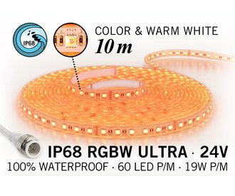 RGB & Warm Wit IP68 Waterdicht Ultra 4 in 1 Led Strip | 10m 60 Leds pm 24V